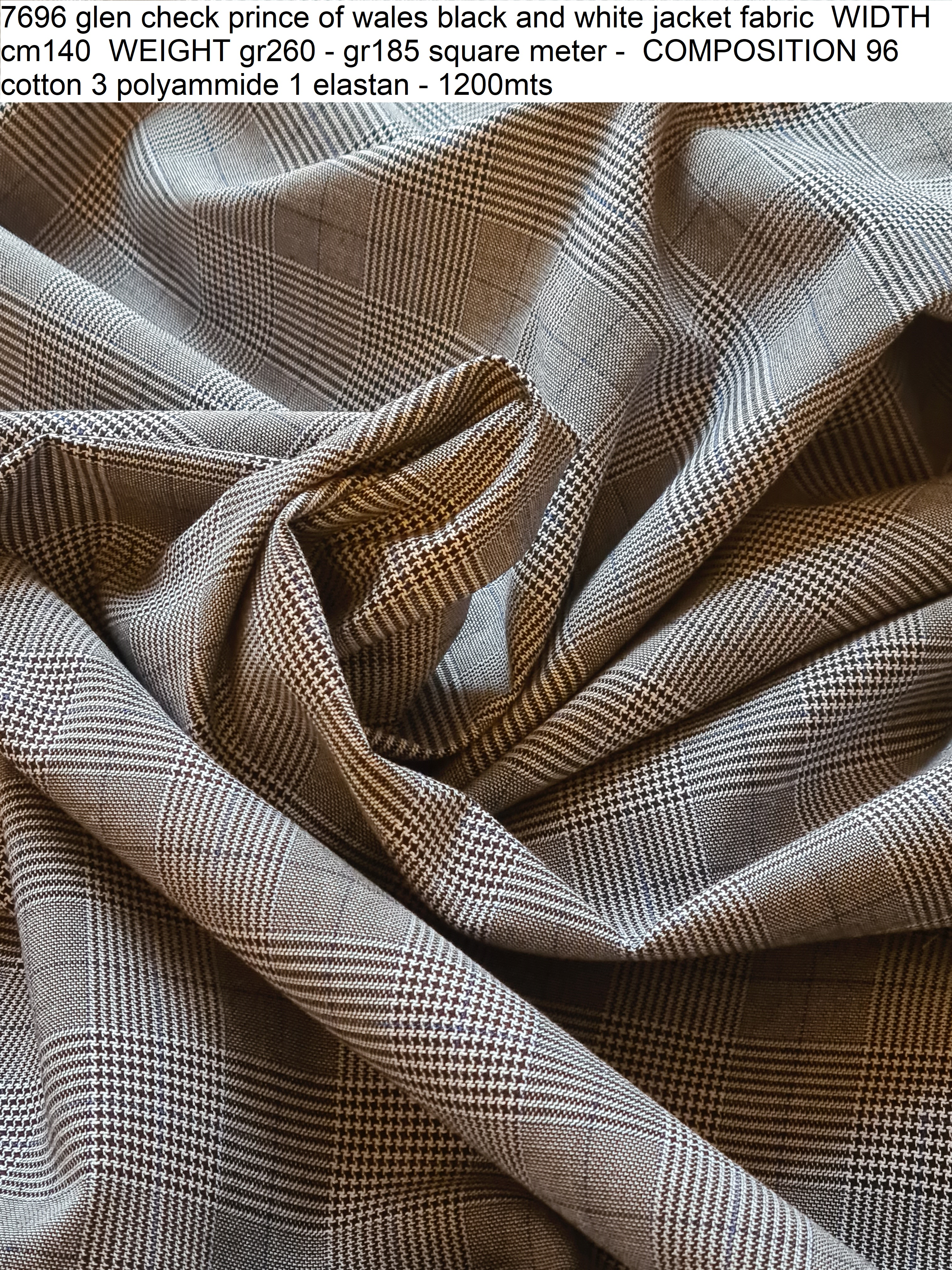 7696 glen check prince of wales black and white jacket fabric WIDTH cm140 WEIGHT gr260 - gr185 square meter - COMPOSITION 96 cotton 3 polyammide 1 elastan - 1200mts