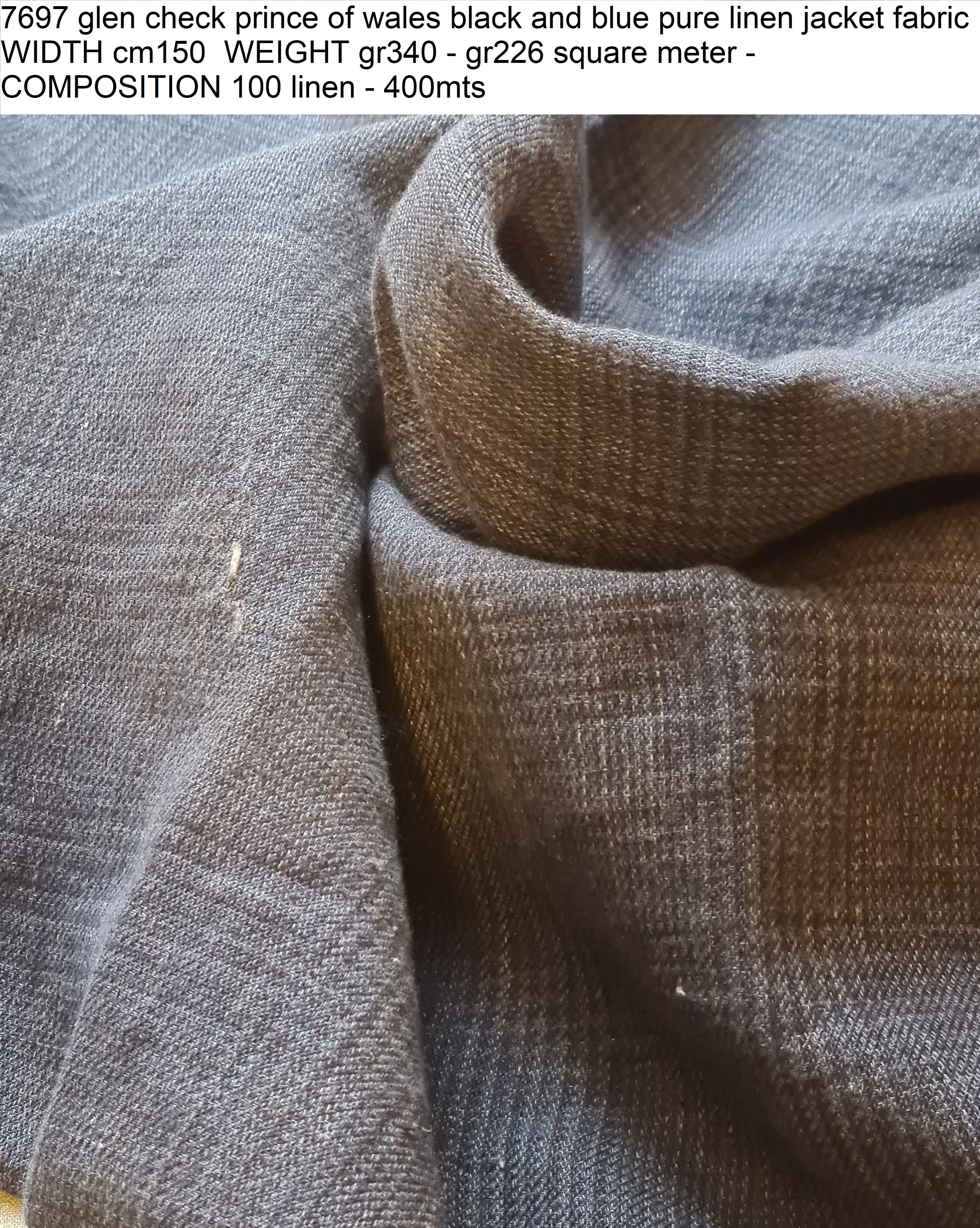 7697 glen check prince of wales black and blue pure linen jacket fabric WIDTH cm150 WEIGHT gr340 - gr226 square meter - COMPOSITION 100 linen - 400mts