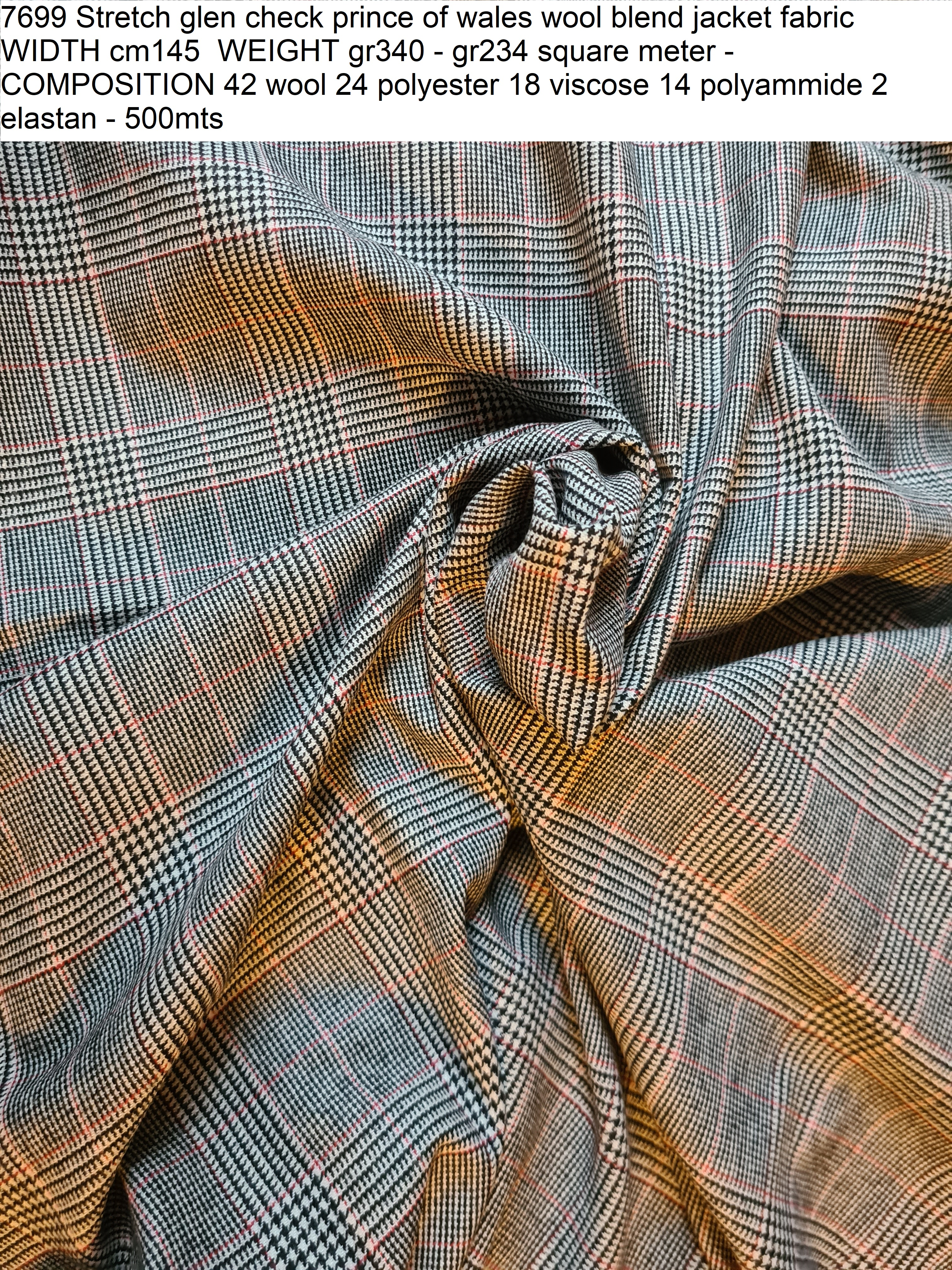 7699 Stretch glen check prince of wales wool blend jacket fabric WIDTH cm145 WEIGHT gr340 - gr234 square meter - COMPOSITION 42 wool 24 polyester 18 viscose 14 polyammide 2 elastan - 500mts