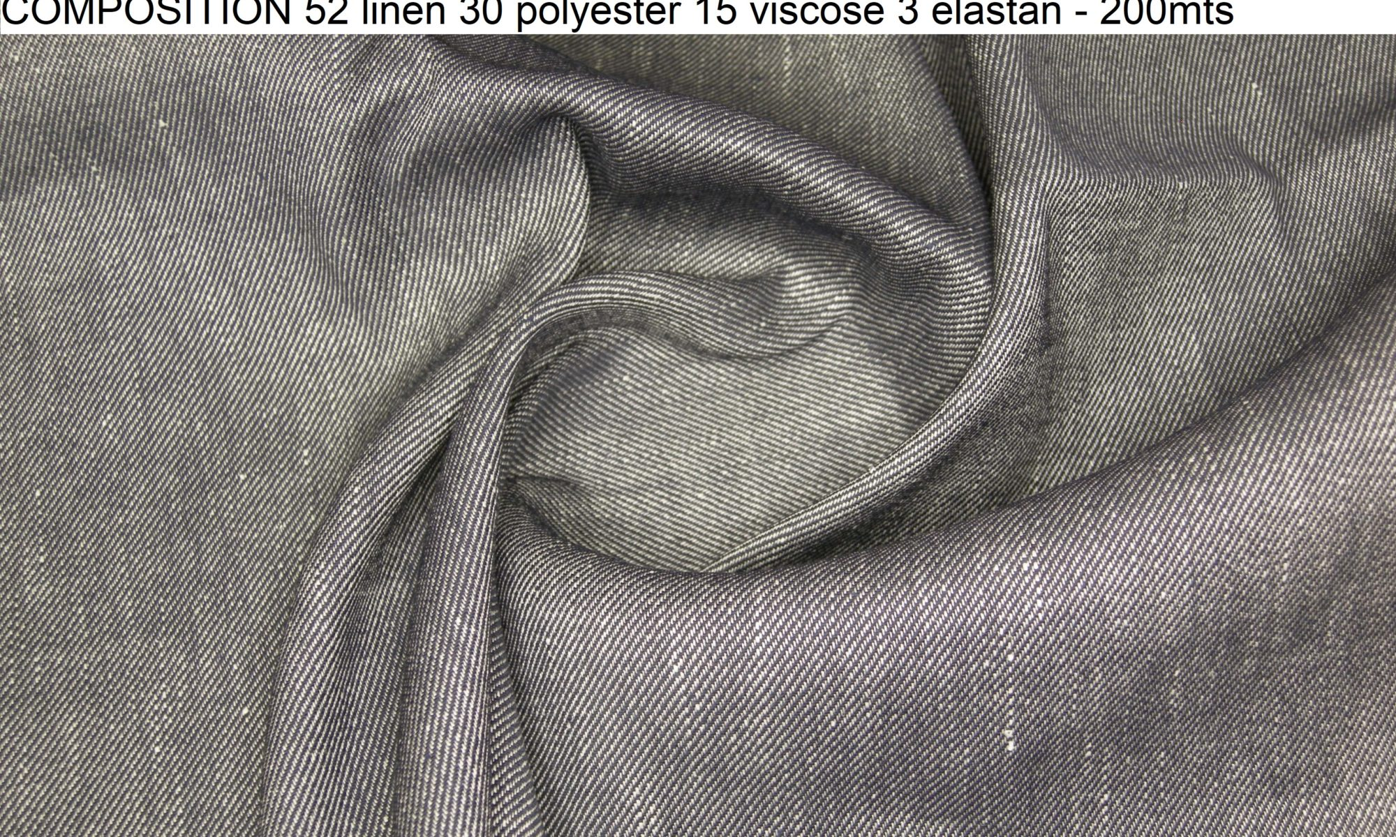 7714 Black and white comfort stretch linen blend twill gabardine jacket pants fabric WIDTH cm127 WEIGHT gr280 - gr220 square meter - COMPOSITION 52 linen 30 polyester 15 viscose 3 elastan - 200mts