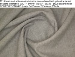 7719 black and white comfort stretch viscose blend twill gabardine jacket trousers skirt fabric WIDTH cm140 WEIGHT gr320 - gr228 square meter - COMPOSITION 64 Polyester 34 Viscose 2 Elastan - 800mts