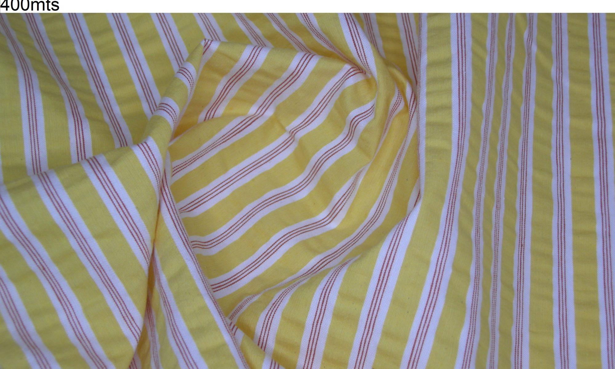 7723 yellow stripe seersucker cotton shir fabric WIDTH cm145 WEIGHT gr215 - gr148 square meter - COMPOSITION 90 Cotton 10 Polyammide - 400mts