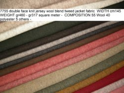 7755 double face knit jersey wool blend tweed jacket fabric WIDTH cm145 WEIGHT gr460 - gr317 square meter - COMPOSITION 55 Wool 40 polyester 5 others - 1