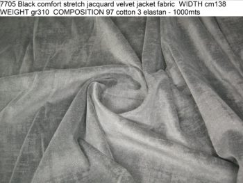 ART 7705 Black comfort stretch jacquard velvet jacket fabric WIDTH cm138 WEIGHT gr310 COMPOSITION 97 cotton 3 elastan - 1000mts