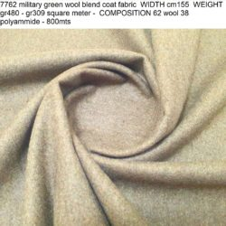 7762 military green wool blend coat fabric WIDTH cm155 WEIGHT gr480 - gr309 square meter - COMPOSITION 62 wool 38 polyammide - 800mts